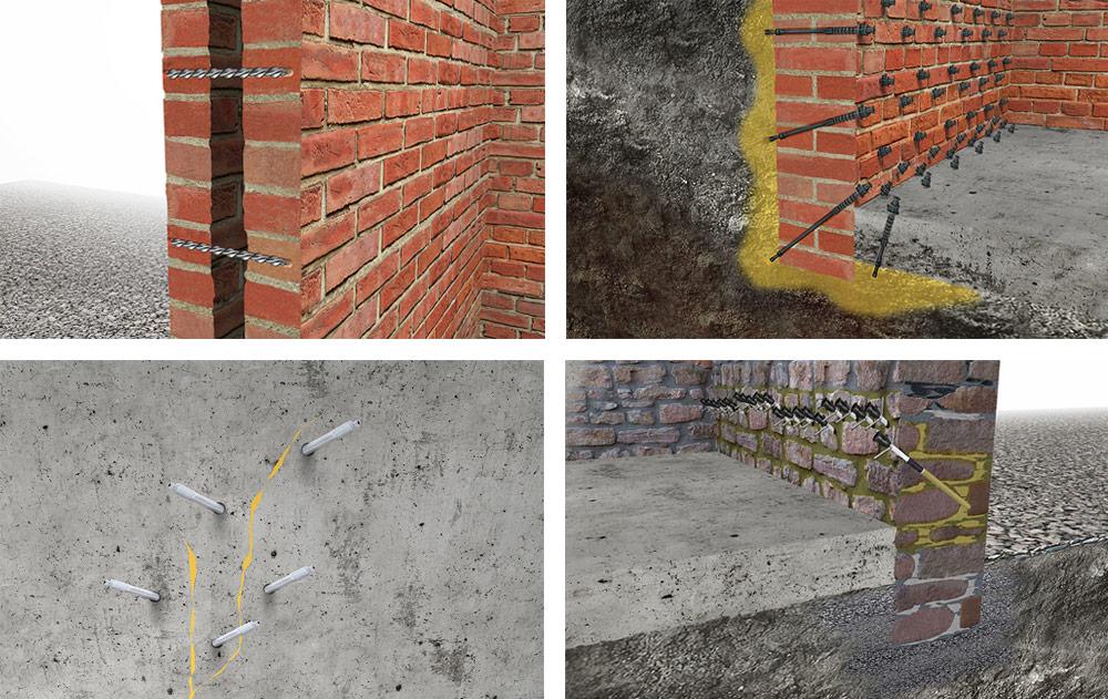 Inyecciones para aislamiento de edificios, grietas y refuerzo de estructuras